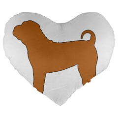 Chinese Shar Pei Silo Color Large 19  Premium Flano Heart Shape Cushions