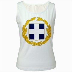 Greece National Emblem  Women s White Tank Top