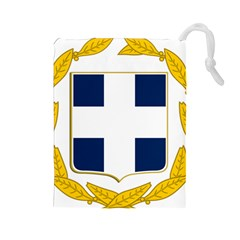 Greece National Emblem  Drawstring Pouches (Large)
