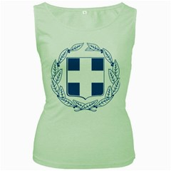Greece National Emblem  Women s Green Tank Top