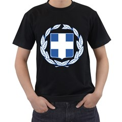 Greece National Emblem  Men s T-Shirt (Black) (Two Sided)