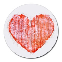 Pop Art Style Grunge Graphic Heart Round Mousepads
