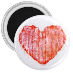 Pop Art Style Grunge Graphic Heart 3  Magnets