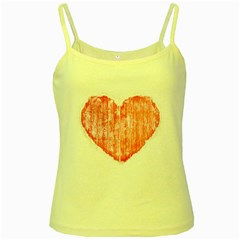 Pop Art Style Grunge Graphic Heart Yellow Spaghetti Tank