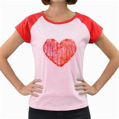 Pop Art Style Grunge Graphic Heart Women s Cap Sleeve T-Shirt
