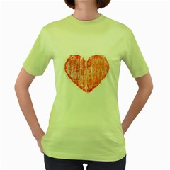 Pop Art Style Grunge Graphic Heart Women s Green T-Shirt