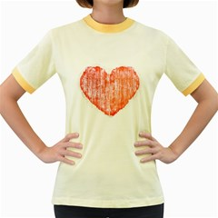 Pop Art Style Grunge Graphic Heart Women s Fitted Ringer T-Shirts
