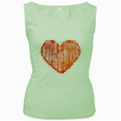 Pop Art Style Grunge Graphic Heart Women s Green Tank Top