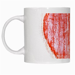 Pop Art Style Grunge Graphic Heart White Mugs