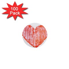 Pop Art Style Grunge Graphic Heart 1  Mini Buttons (100 pack)