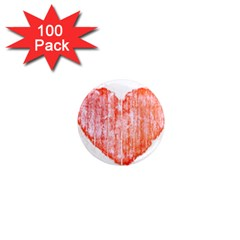 Pop Art Style Grunge Graphic Heart 1  Mini Magnets (100 pack)