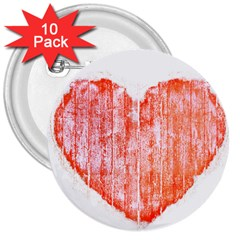 Pop Art Style Grunge Graphic Heart 3  Buttons (10 pack)