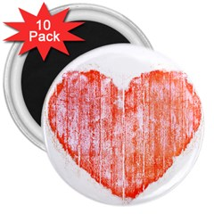 Pop Art Style Grunge Graphic Heart 3  Magnets (10 pack)