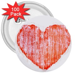 Pop Art Style Grunge Graphic Heart 3  Buttons (100 pack)