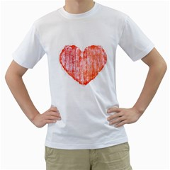 Pop Art Style Grunge Graphic Heart Men s T-Shirt (White) (Two Sided)