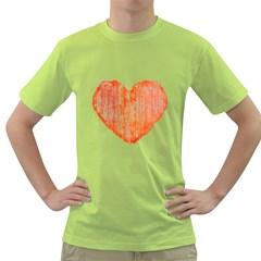 Pop Art Style Grunge Graphic Heart Green T-Shirt