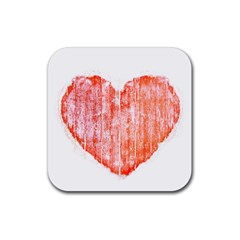 Pop Art Style Grunge Graphic Heart Rubber Square Coaster (4 pack)