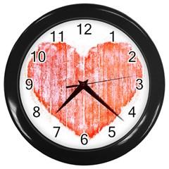 Pop Art Style Grunge Graphic Heart Wall Clocks (Black)
