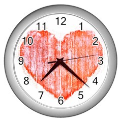 Pop Art Style Grunge Graphic Heart Wall Clocks (Silver)