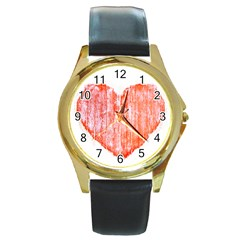 Pop Art Style Grunge Graphic Heart Round Gold Metal Watch
