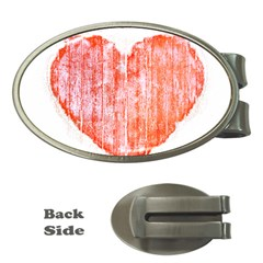 Pop Art Style Grunge Graphic Heart Money Clips (Oval)