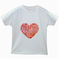 Pop Art Style Grunge Graphic Heart Kids White T-Shirts