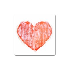 Pop Art Style Grunge Graphic Heart Square Magnet