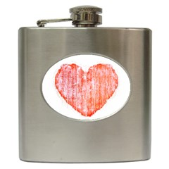 Pop Art Style Grunge Graphic Heart Hip Flask (6 oz)