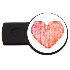 Pop Art Style Grunge Graphic Heart USB Flash Drive Round (1 GB)