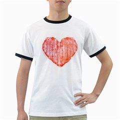 Pop Art Style Grunge Graphic Heart Ringer T-Shirts