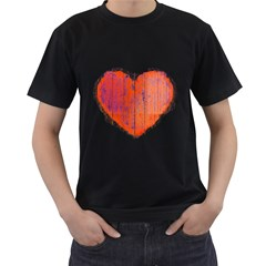 Pop Art Style Grunge Graphic Heart Men s T-Shirt (Black) (Two Sided)
