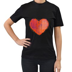Pop Art Style Grunge Graphic Heart Women s T-Shirt (Black) (Two Sided)
