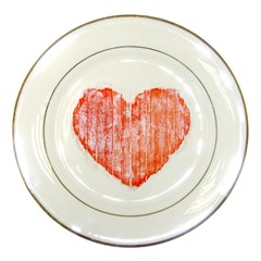 Pop Art Style Grunge Graphic Heart Porcelain Plates