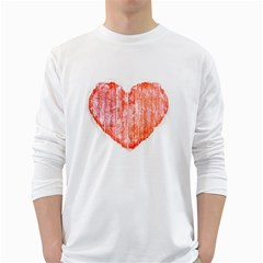 Pop Art Style Grunge Graphic Heart White Long Sleeve T-Shirts