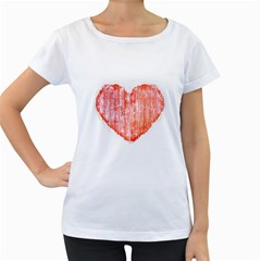 Pop Art Style Grunge Graphic Heart Women s Loose-Fit T-Shirt (White)