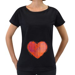 Pop Art Style Grunge Graphic Heart Women s Loose-Fit T-Shirt (Black)
