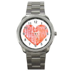 Pop Art Style Grunge Graphic Heart Sport Metal Watch