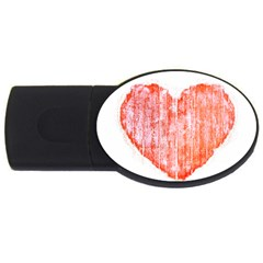 Pop Art Style Grunge Graphic Heart USB Flash Drive Oval (4 GB)