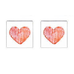 Pop Art Style Grunge Graphic Heart Cufflinks (Square)