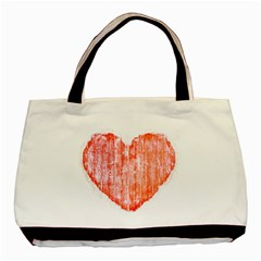 Pop Art Style Grunge Graphic Heart Basic Tote Bag