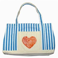 Pop Art Style Grunge Graphic Heart Striped Blue Tote Bag