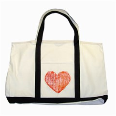 Pop Art Style Grunge Graphic Heart Two Tone Tote Bag