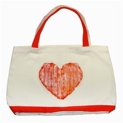 Pop Art Style Grunge Graphic Heart Classic Tote Bag (Red)