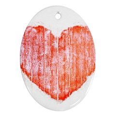 Pop Art Style Grunge Graphic Heart Oval Ornament (Two Sides)