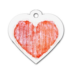 Pop Art Style Grunge Graphic Heart Dog Tag Heart (One Side)