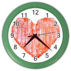 Pop Art Style Grunge Graphic Heart Color Wall Clocks