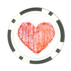 Pop Art Style Grunge Graphic Heart Poker Chip Card Guard (10 pack)