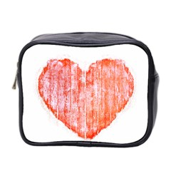 Pop Art Style Grunge Graphic Heart Mini Toiletries Bag 2-Side