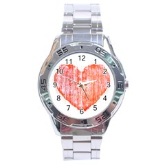 Pop Art Style Grunge Graphic Heart Stainless Steel Analogue Watch