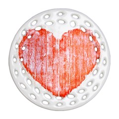Pop Art Style Grunge Graphic Heart Round Filigree Ornament (Two Sides)